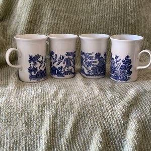 Churchill Willow Design White Blue Mugs 4-Pc Set